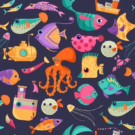 Underwater world. Variety of swimming multicolored fish. Seamless background pattern. illustration