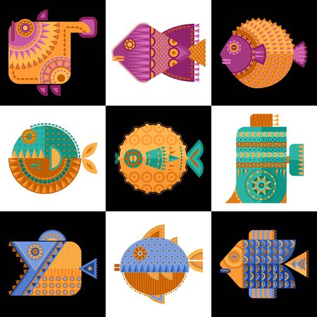 Set of 9 multi-colored decorated fish in geometric style. Vector illustration