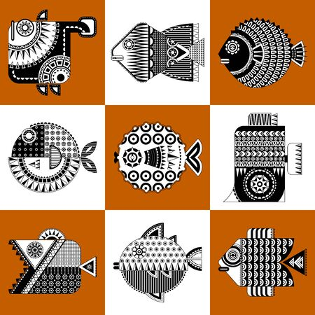 Set of 9 black and white decorated fish in geometric style. Vector illustration