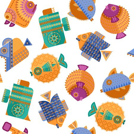 Multi-colored decorated fish in geometric style. Seamless background pattern. Vector illustration