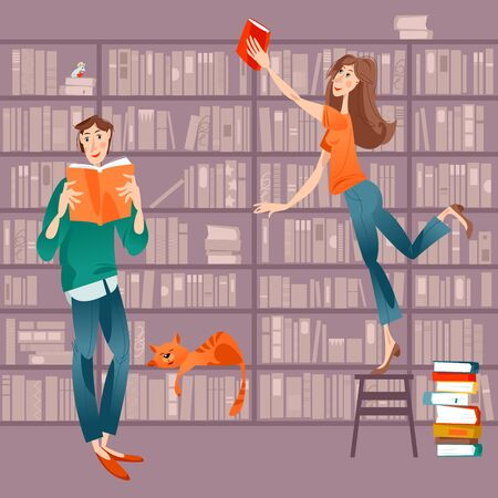 Woman and man in the library. Man is reading, woman is taking a book from the bookshelf. Vector illustration