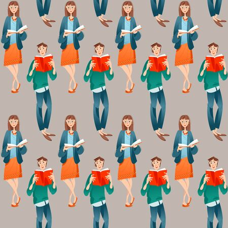 Boy and girl read books. Seamless background pattern. Vector illustration