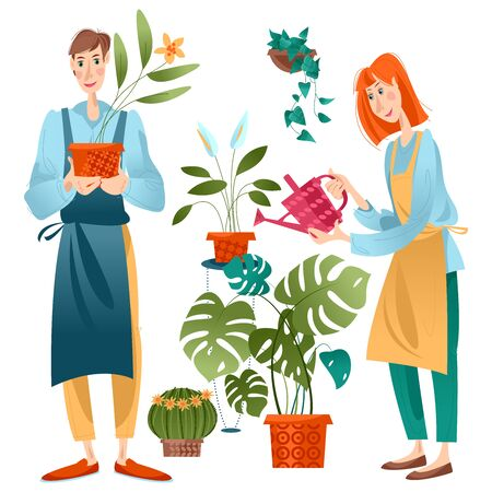 Young man and woman taking care of indoor plants. Vector illustration