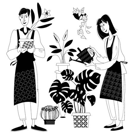 Young man and woman taking care of indoor plants. Black and white. Vector illustration