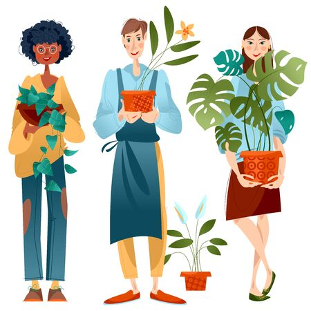 Young man and two women hold potted house plants. Vector illustration