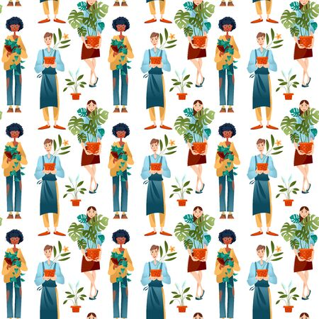 Young man and two women hold potted house plants. Seamless background pattern. Vector illustration