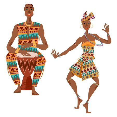 African ritual dance. Man plays a traditional drum, woman dances. Vector illustration