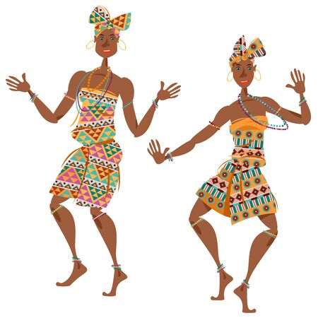 African ritual dance. Two dancing women in traditional costumes. Vector illustration  Ilustracja