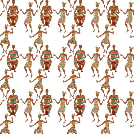 African ritual dance. Man plays a traditional drum, women dance. Seamless background pattern. Vector illustration Ilustracja