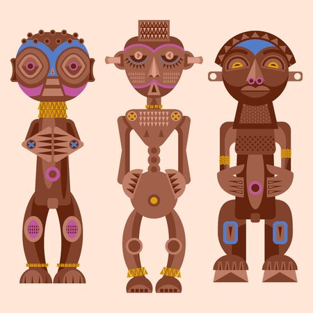 Set of African ritual wooden sculptures. Vector illustration