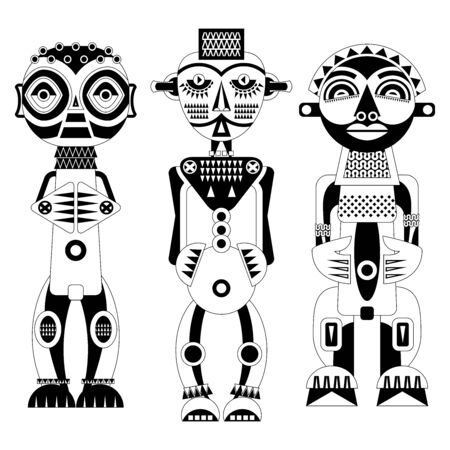 Set of African ritual wooden sculptures. Black and white. Vector illustration