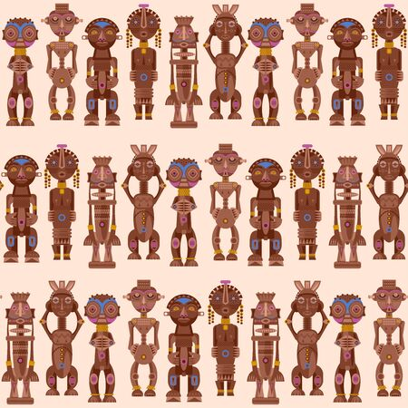 African ritual wooden sculptures. Seamless background pattern. Vector illustration