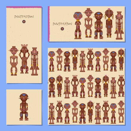Set of 4 universal cards with IAfrican ritual wooden sculptures. Template. Party, birthday, holiday. Vector illustration