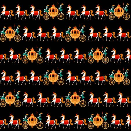 Princess Fantasy Carriages with Coachmen and Horses. Seamless background pattern. Vector illustration Ilustracja