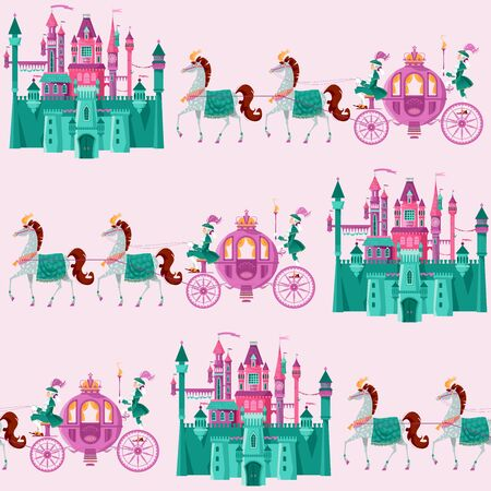 Fairytale medieval castles and Princess Fantasy Carriages with Coachmen and Horses. Seamless background pattern. Vector illustration