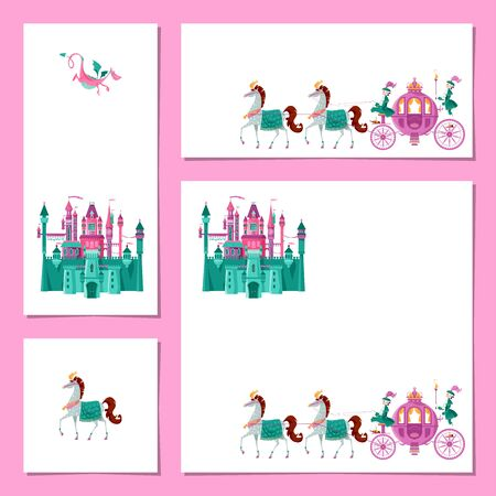 Set of 4 universal cards with Fairytale medieval castle and Princess Fantasy Carriage. Template. Happy birthday! Children's party, congratulation card. Vector illustration
