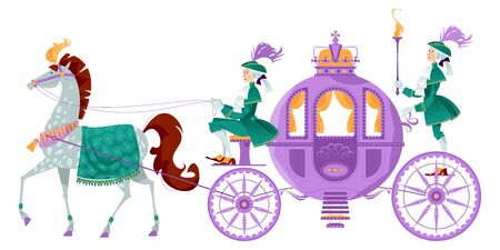 Princess Fantasy Carriage with Coachman and a Horse. Vector illustration.