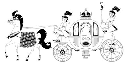 Princess Fantasy Carriage with Coachman and a Horse. Black and white. Vector illustration  Illustration