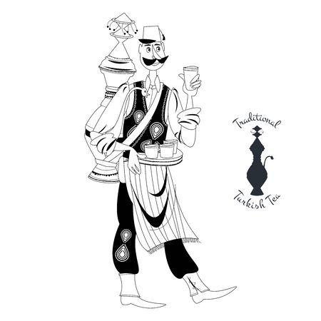 Turkish street seller in folk costume sells traditional drink (hot tea, sherbet, shira grape juice). Black and white. Vector illustration