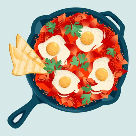 Shakshuka, dish made of poached eggs in a  tomato sauce, served in a cast iron pan with bread. Vector illustration