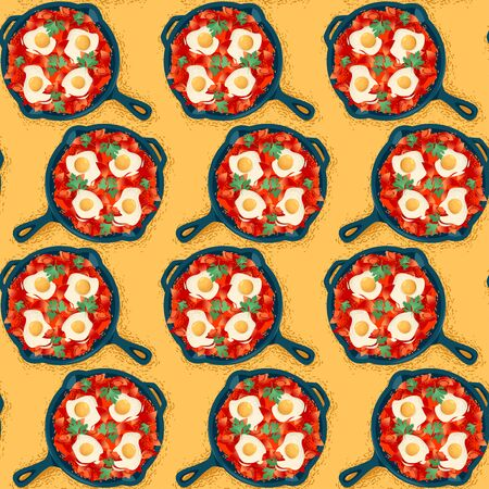 Shakshuka, dish made of poached eggs in a  tomato sauce, served in a cast iron pan with bread. Seamless background pattern. Vector illustration Ilustracja