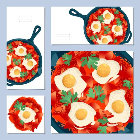 Set of 4 universal cards with Shakshuka traditional Middle Eastern and North African dish. Template. Vector illustration