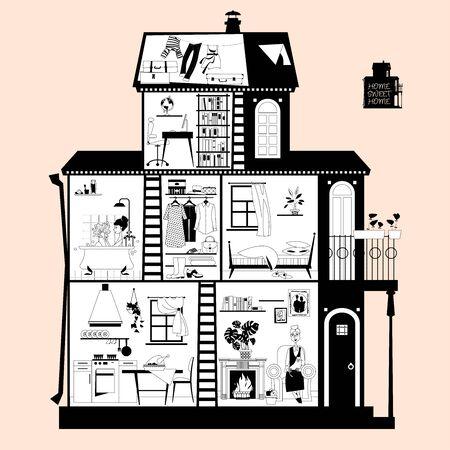 Coupe transversale d'une maison privée. Aménagement intérieur détaillé des chambres. Noir et blanc. Illustration vectorielle