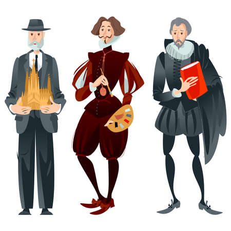 History of Spain. Famous people.   Vector illustration.