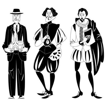 History of Spain. Famous people.  Vector illustration. Ilustracja