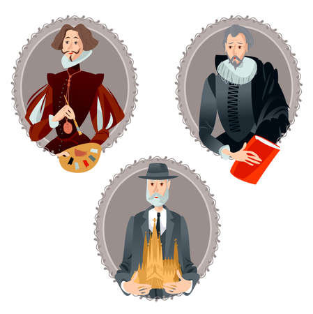 History of Spain. Portraits of famous people. Ilustracja
