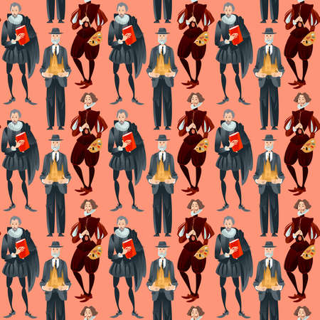 History of Spain. Famous people.   Seamless background pattern. Vector illustration