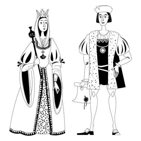 History of Spain. Famous people. Isabella I of Castile and Christopher Columbus. Black and white. Vector illustration.