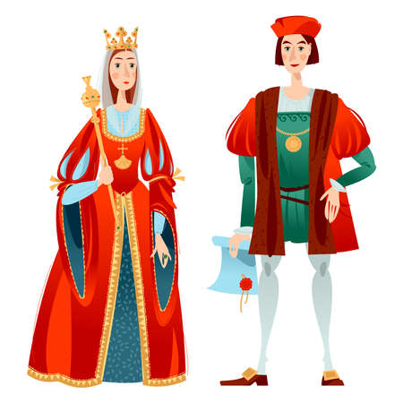 History of Spain. Famous people. Isabella I of Castile and Christopher Columbus. Vector illustration.