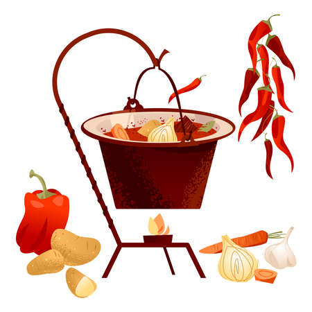 Traditional Hungarian dish. Goulash soup with meat, paprika, potatoes, onion, garlic and carrots served in the cauldron. Vector illustration.