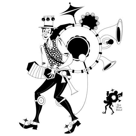 Street performer. Singing musician. One Man band. Black and white. Vector illustration.