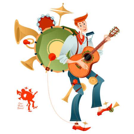 Street performer. Singing musician. One Man band. Vector illustration.