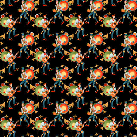 Street performer. Singing musician. One Man band. Seamless background pattern. Vector illustration