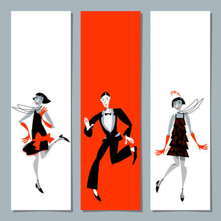 Set of 3 universal greeting cards and bookmarks with two flapper girls and a man dancing Charleston. Vector illustration