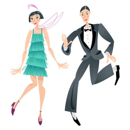 Couple dancing Charleston. Retro dancers. Vector illustration