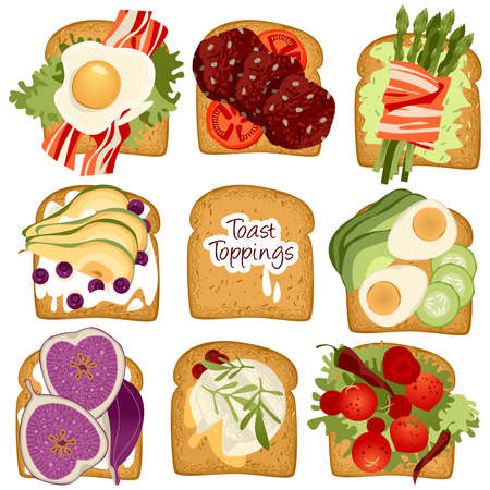 Set of various Toast toppings. Vector illustration.