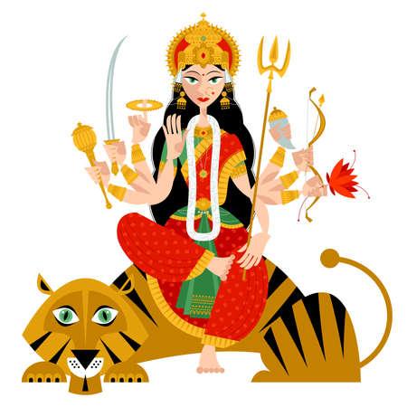 Indian autumn festival Navratri. Durga Puja. Goddess Durga. Vector illustration.