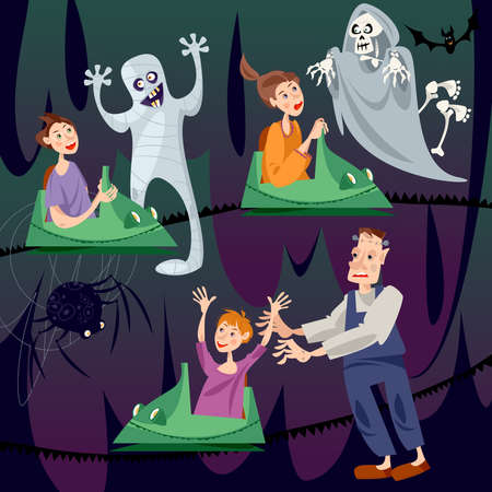 Children riding ghost train. Scary monsters. Haunted house. Vector illustration.