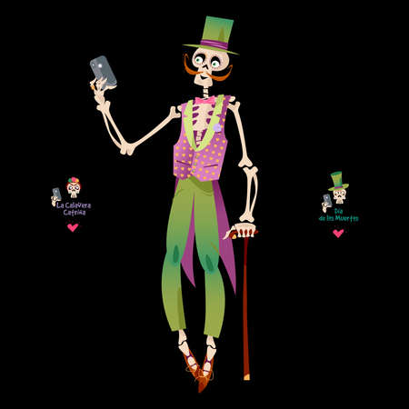 Skeleton dressed in a holiday clothes takes a selfie. Dia de Muertos (Day of the Dead). Vector illustration