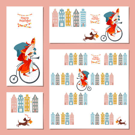 Set of 4 universal cards with Santa Claus (Sinterklaas) on a vintage bicycle. Christmas in Holland. Vector illustration. Stock Illustratie