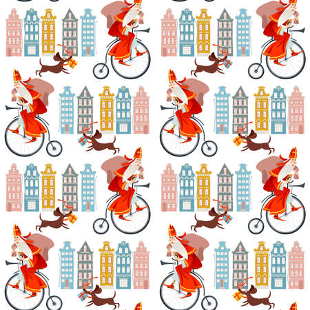 Santa Claus (Sinterklaas) on a vintage bicycle with a bag of gifts. Christmas in Holland. Seamless background pattern. Vector illustration Stock Illustratie