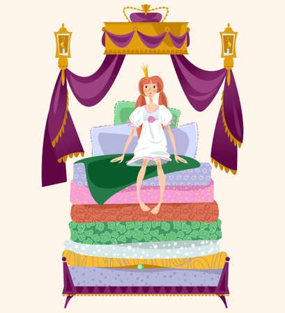 The Princess and the pea. A girl is sitting on a pile of mattresses under Royal canopy. Vector illustration.
