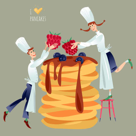 Little boy and girl chefs decorate huge stack of pancakes with berries. Happy Pancake Day! Vector illustration