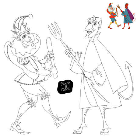 Traditional puppet show featuring Mr. Punch. Punch and the Devil. Coloring page. Vector illustration