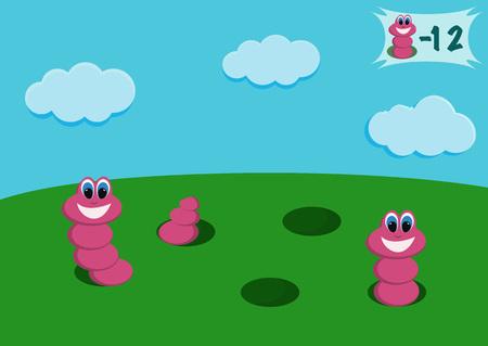 gusano caricatura: ilustraci�n de un gusano de dibujos animados para el juego Vectores