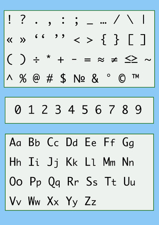 All keyboard signs, numbers and letters for your writing